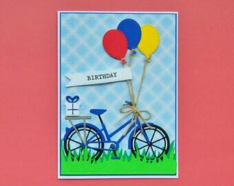 Birthday Bike Card (Blue)