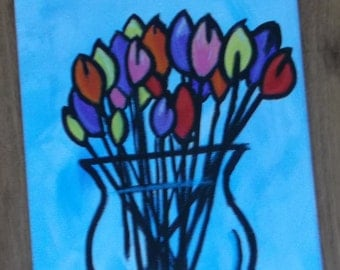 Abstract painting of tulips in vase