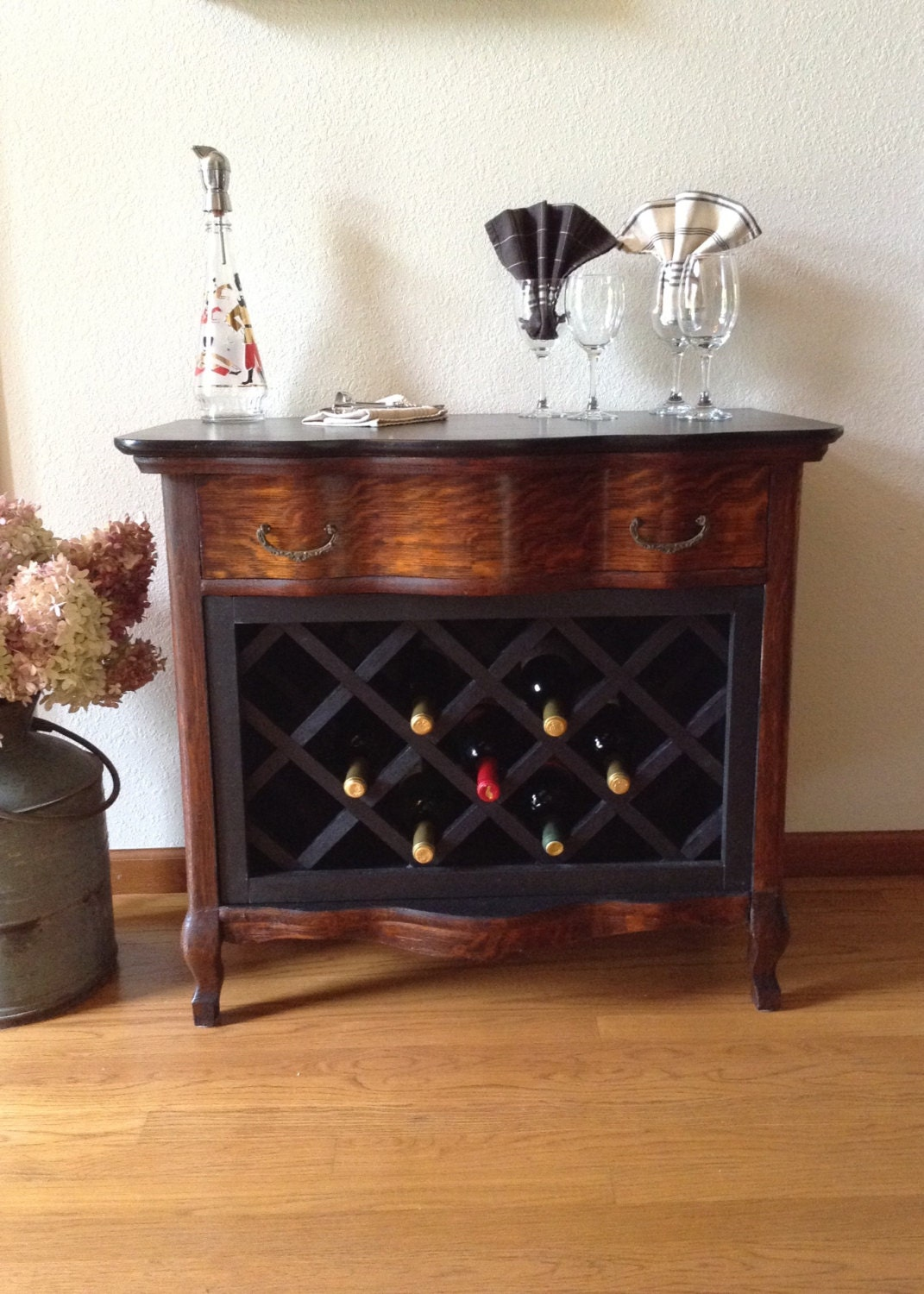 Custom Vintage Wine Cabinet Dry Bar Painted And Quarter Sawn