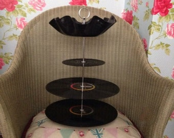 Hand crafted record cake stand, made to order so designs will vairy