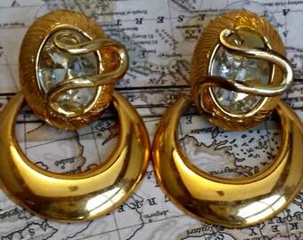 Vintage Gold Toned Earrings Vintage Earrings Hoop Earrings Clear Rhinestone Pierced Earrings Vintage Costume Jewelry Ear Rings