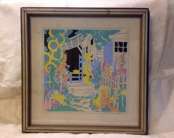 Original Art Deco Buzza Co. Janet Laura Scott Hand Watercolored Stencil Pochoir