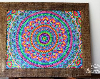 Large Framed original artwork - Sunshine Mandala