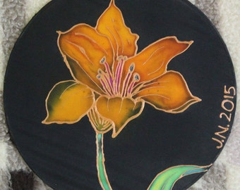 Orange Lily on Silk
