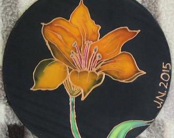 Orange Lily on Silk