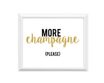 Champagne Print | 10x8 Art Print | More Champagne Please | Wall Art | 14x11