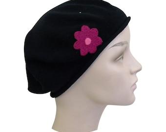 Ladies Black Beret Hat With Pink Crochet Flower Stylish Fashionable Comfortable Cotton Womens Fashion Hat