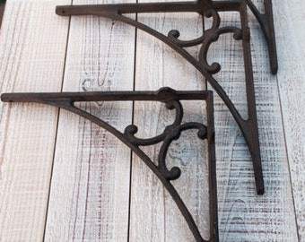 Iron Brackets, Shelf Brackets, Rustic, Supports, Display Shelf, Book Shelf, Cast Iron, Shelf Supply