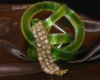 """FT264 Copper Crystal Bangle Bracelet, Size  7"""""""