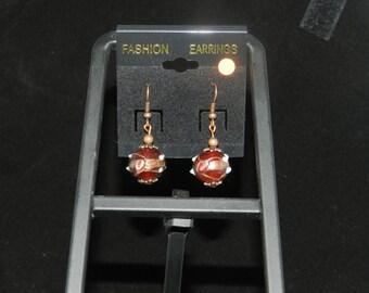Copper Lampwork Glass Charm Earrings