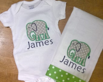 Elephant Applique Onesie and Burp Cloth Set - Personalized with name