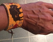 Buffalo Totem, Native American Inspired, Loom Beaded, Handwoven, Leather Cuff Bracelet - Men's or Women's