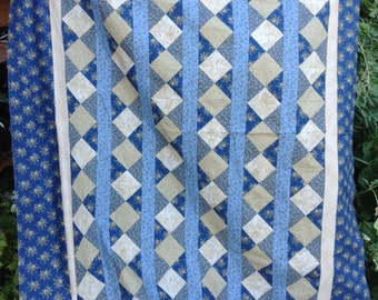 Handmade Blue and tan stripes and squares quilt