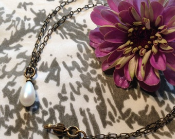 Vintage  Pearl Teardrop Pendant and Antiqued Brass Necklace