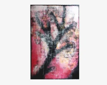 PAINTING Large, Vertical Abstract Painting, Cavas Wall art, Cherry Tree on Canvas, Original artwork, Modern Art Zhanna Ozolina