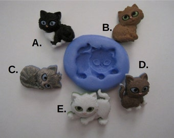 Kitten Silicone Molds - Cat Molds - Silicone Molds - Food Safe Molds - Fondant Molds - Flexible Molds - Cake Decorating Tools - Molds