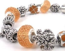 "Yellow/Gold Color Charm Bracelet Pandora Style 7 1/2"" long European Beads"
