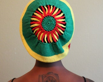 Hand Knitted Tam with Hand Crocheted Center in Red, Green and Yellow