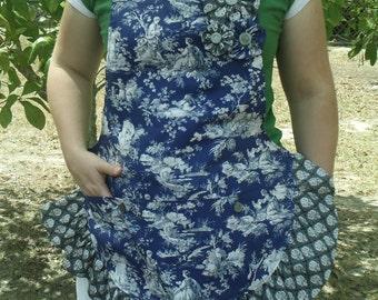 handmade full blue toile apron, gift for mom, gift for her, gift for women, womens apron, custom apron, mothers day gift