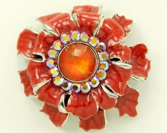 Red Flower Brooch Red Broach Jewelry Component Flower Rhinestone Broach DIY Supply Wedding Cake Broach
