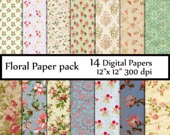 """Floral digital paper : """"FLORAL PAPER"""" rose digital paper  shabby chic paper  digital floral paper  scrapbook paper instant download"""