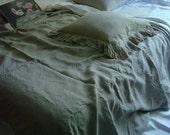 Ruffled gray linen pillowcase organic stonewashed linen pillowcase shabby chic linen bed set  ORIGINAL DESIGN  by LUXOTEKS