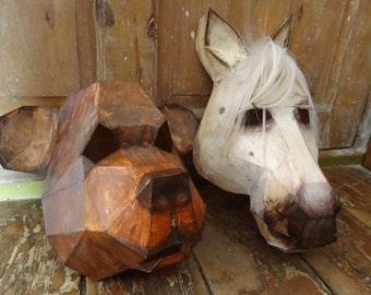 DIY Halloween masks, Masquerade masks,animal masks ,Bear mask, horse mask, 3D Printable Animal Templates