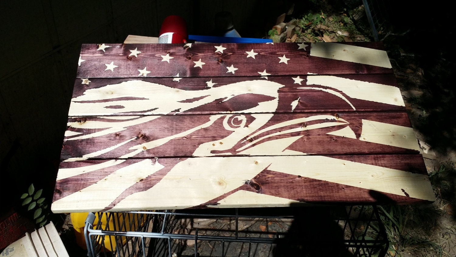 Rustic wooden eagle home decor sign by tinyssignsanddesigns for Eagle decorations home