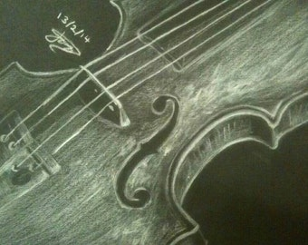 Violin on Black Paper