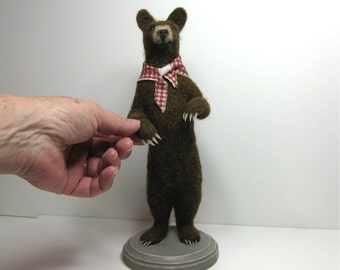 "Bucky Needle Felted Black Bear 10"" High"