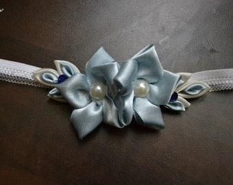 Headband blue double flower / flower headband double blue
