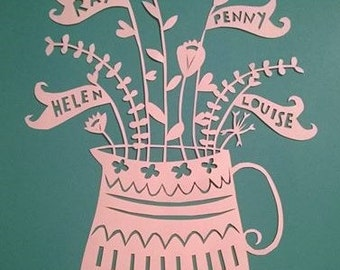 original hand-cut family vase with flowers A4