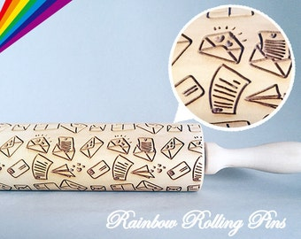 Embossing rolling pin for cookies laser engraved cookie decorating molds letter Love letter message Valentine's Day