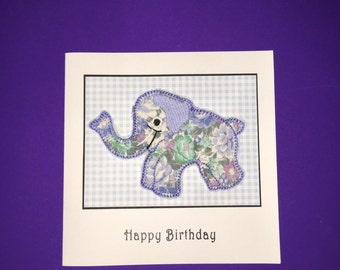 Elephant Applique Birthday Card