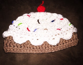 Cupcake Sprinkles Crochet Hat -any sizes or colors