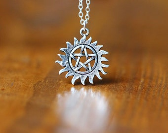 anti possession symbol necklace sun The supernatural inspired Pagan Witchcraft jewelry C88N