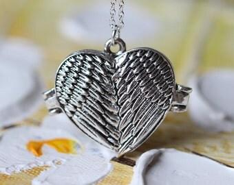 Angel Wings Locket pendant Necklace  Heart Lockets jewelry L85