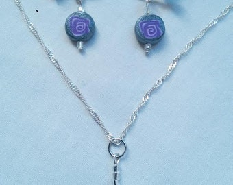 Shimmering Purple Rose Jewelry Set