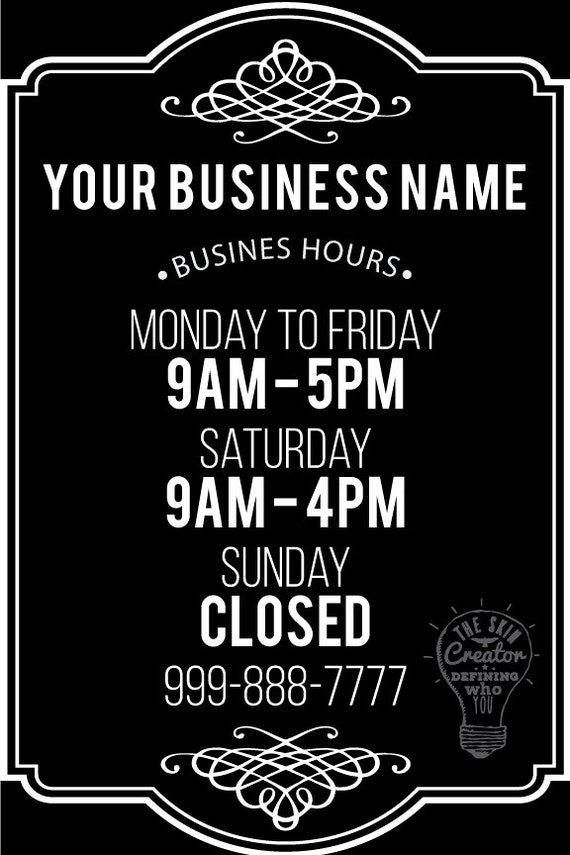 hours of operation template microsoft word - custom business store hours vinyl window decal 8 by