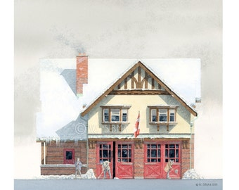 Fire Hall Art, Hall 34, Yonge Street, Toronto // Fire Station, Fire House, Tudor, Firefighter Gift, Toronto History, Toronto Art, Historian.