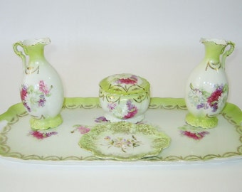 Antique 5 Piece Austrian porcelain dressing table / trinket set