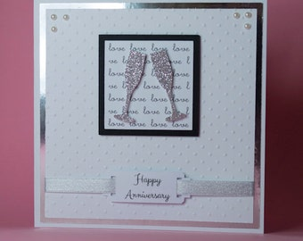 Champagne Love Handmade Anniversary Card