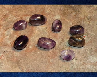 Amethyst  - 8 Oval smooth pebble nugget. Large 8-10mm. purple gemstone beads. #AMY-010l