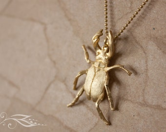 Stag beetle - necklace 50 cm made of brass