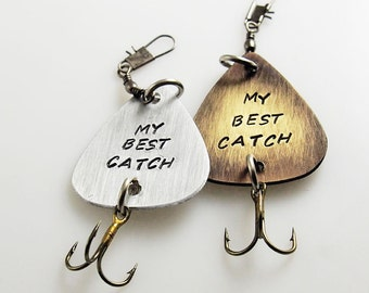 Father's Day gift, my best catch, custom lure, fisherman gift, engraved lure, fishing accessories, spinner bait, dad gift