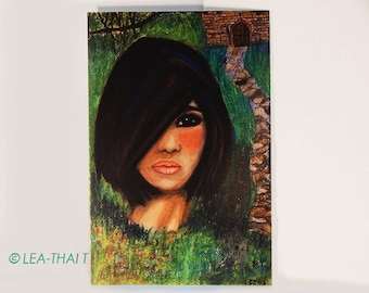 Girl in the Woods, Trading Card ACEO, Abstract Painting, Glossy 2.5 x 3.5 Print, from Original Painting