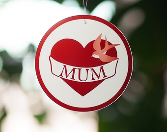 Gift for Mum … Mum Tattoo etched glass decoration … sun catcher
