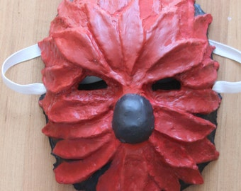 Red Flower Mask | Paper Mache Mask | Costume