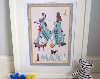 Personalised letter M print