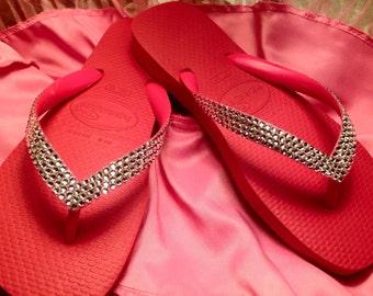 Handcrafted Swarovski embellished Havaianas flip flops